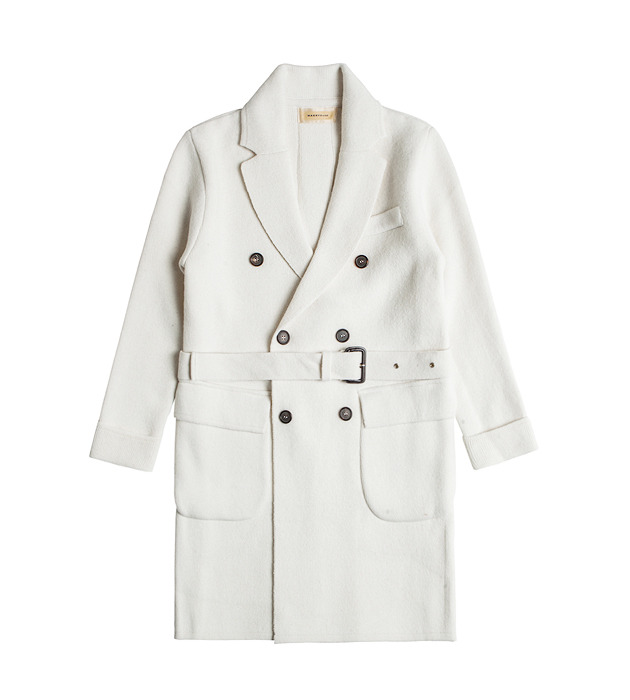 Merino Wool Knit Polo Coat - Ivory