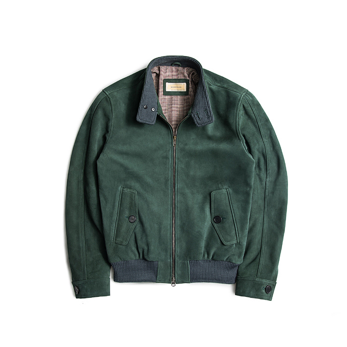 Suede Leather Sports Jacket - Green