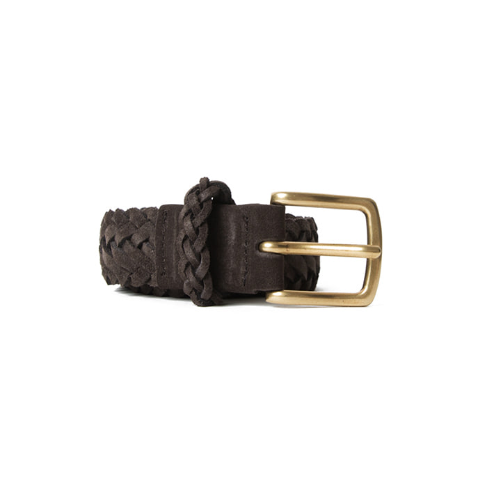 Braided Suede Belt - Dark Brown