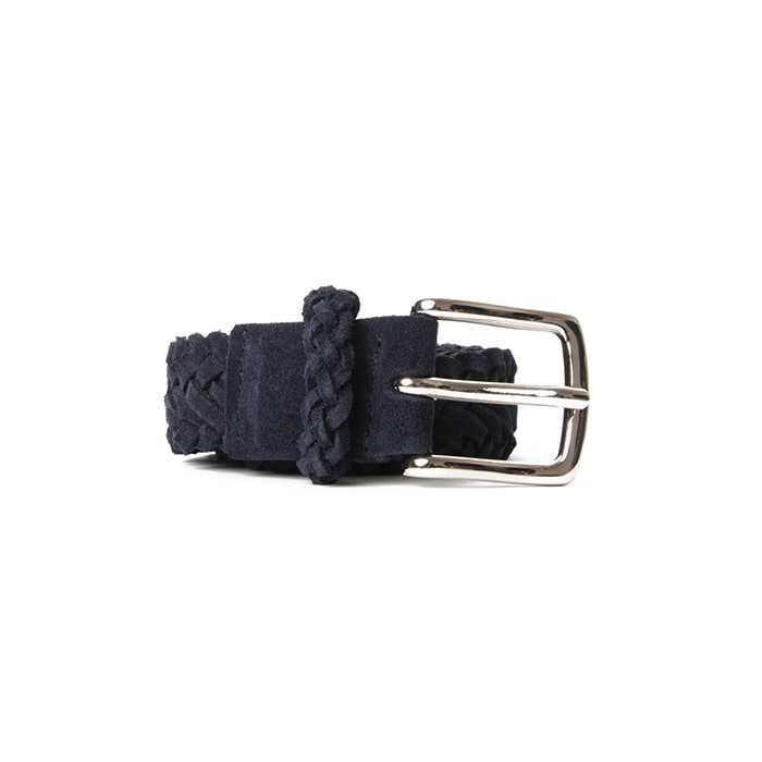Braided Suede Belt - Navy