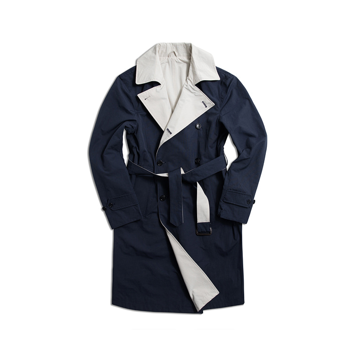 Rebersible Double Trench Coat - Navy