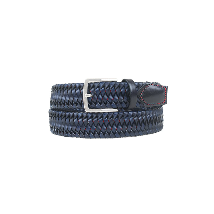 Stretch Leather Weaving Belt 105 - Blue
