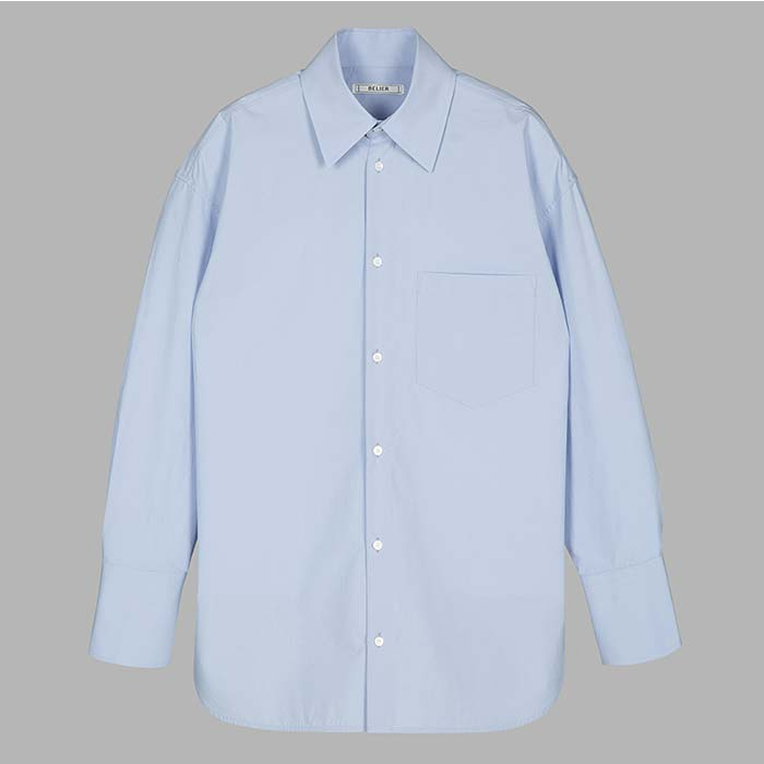 Oversized Solid Cotton Shirt -  Blue