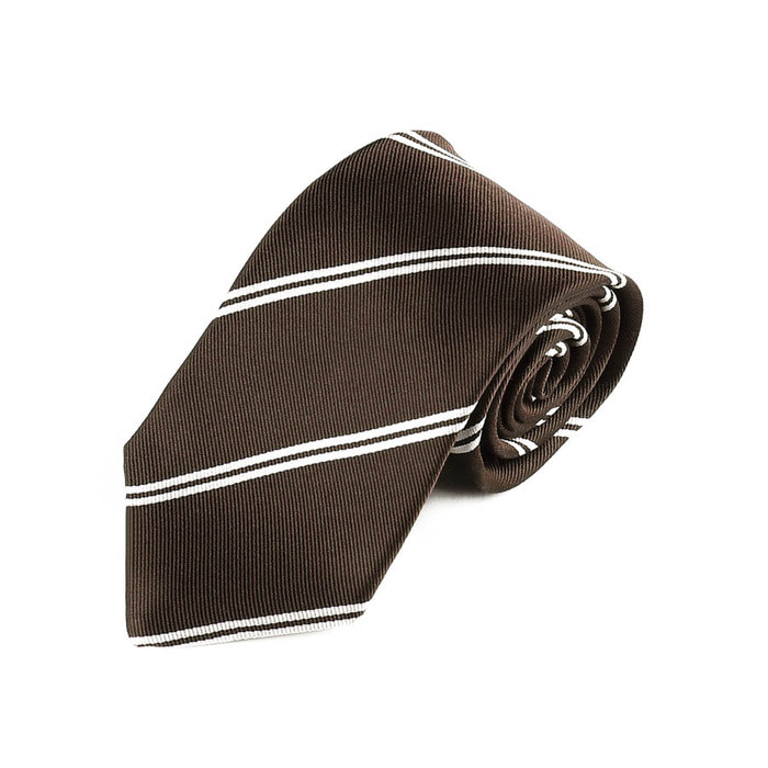 Double Regimental Tie - Brown