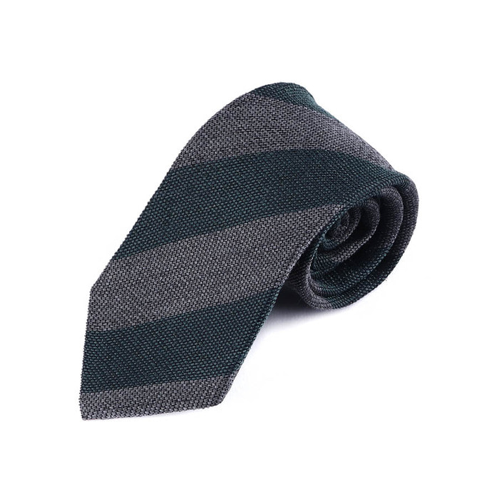 Wool Regimental Tie - Green Gray