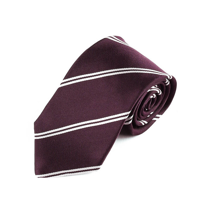 Double Regimental Tie - Wine