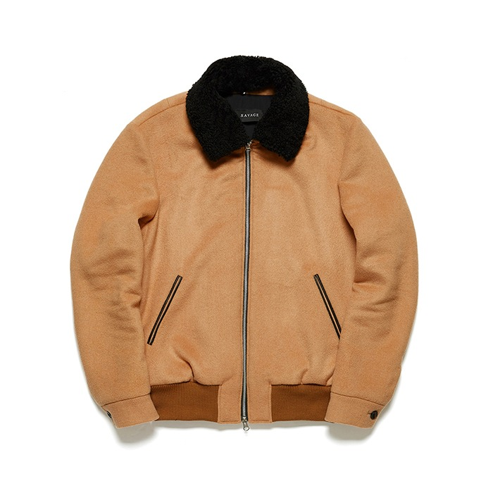 Camel Shearling Bomber Jacket - Black Collar