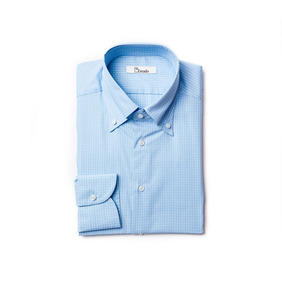 Albini Gingham checked Shirts - Skyblue
