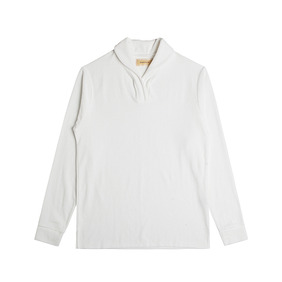 Terry Cotton Shawl collar Polo Shirts - Ivory