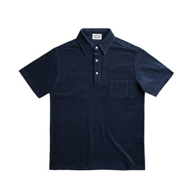 3 Button Terry Cotton Polo Shirts - Navy