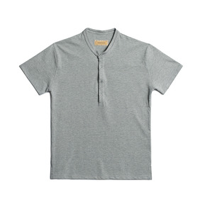 Washed Pique Henley Neck Shirt - Gray